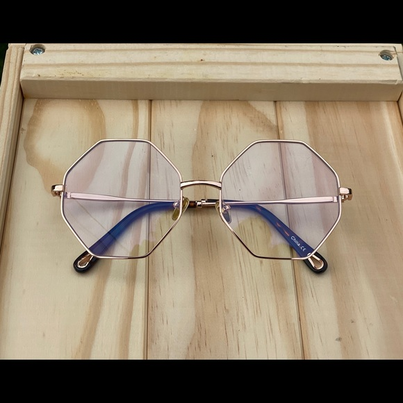 Rose gold geometric clear glasses